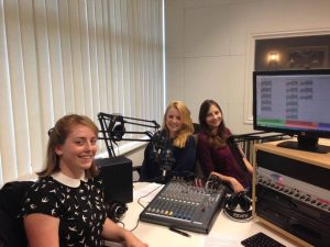 The Trilogy girls; Jenn, Ruth and Charly in the studio